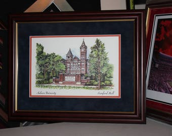 Auburn Samford Hall framed with dark cherry wood with Blue Suede and Orange mat's.