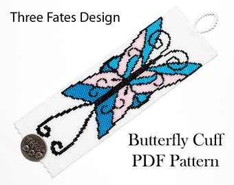 Pattern, Butterfly, Peyote, Seed Bead Pattern, Butterfly Jewelry, Cuff Bracelet, Beaded Bracelet, PDF Pattern, Instant Download