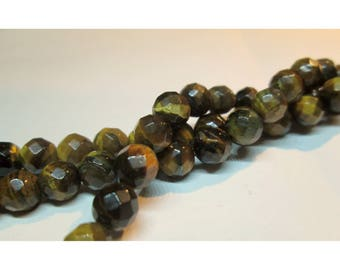 faceted Tiger eye gemstones - 10 beads 6mm