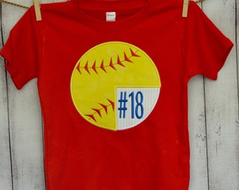 Personalized Baseball Softball Monogram Applique Shirt or Bodysuit Girl Boy