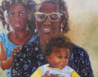 Grand Ma's Love, African American Art, Giclee  print 12x12