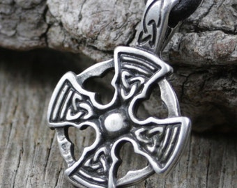 Mens Celtic Knot Cross Necklace, Leather Necklace, Celtic Cross Pendant, Pewter, Metal, Brown Leather Cord, Surfer Necklace, Masculine