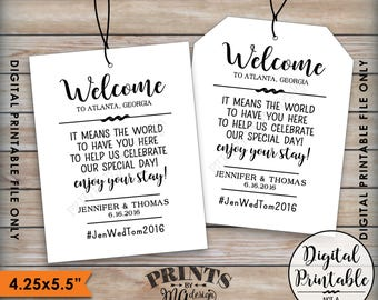 "Wedding Tags, Welcome Bag Tags, Hotel Bag Labels, Out of Town Guests, Destination Wedding, Thank You Tags, Hashtag, 8.5x11"" Printable File"
