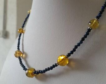 Lapis Lazuli Amber necklace