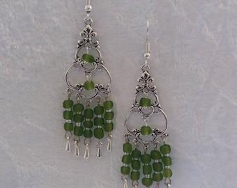 Lime green bead chandelier earrings. Green earrings. Silver earrings. Chandelier earrings. Teardrop charms. Long green earrings