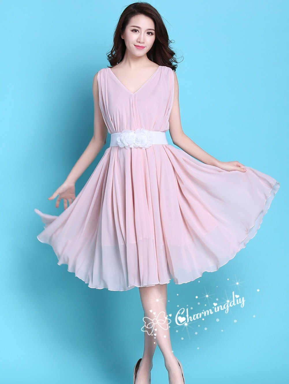 60 colores alta calidad doble rodilla rosa gasa falda vestido