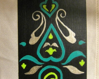 ACEO Painting - Indian Textile Pattern - Artistry To Alchemy