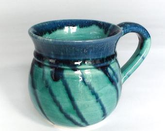 Ceramic Coffee mug, kitchen,  Tea cup Green Blue Pottery Handmade Housewares Modern entertaining  glazed kitchen serving cup Kitchen