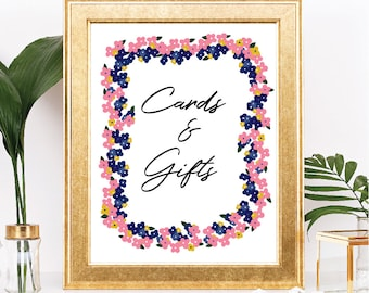 Printable Cards and Gifts Sign - Instant Download - Floral Wreath - Navy, Pink, Mustard Yellow Flowers, Table Sign - Digital Download