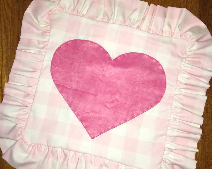 Pink Ruffled Buffalo Check Heart Pillow 16x16 Pillow Cover home Decor Farmhouse Decor Christmas valentine pillow