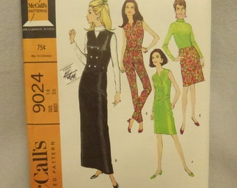 Vintage Mid Century McCall's Pattern 9024 Misses Dress Size 16 Factory Fold