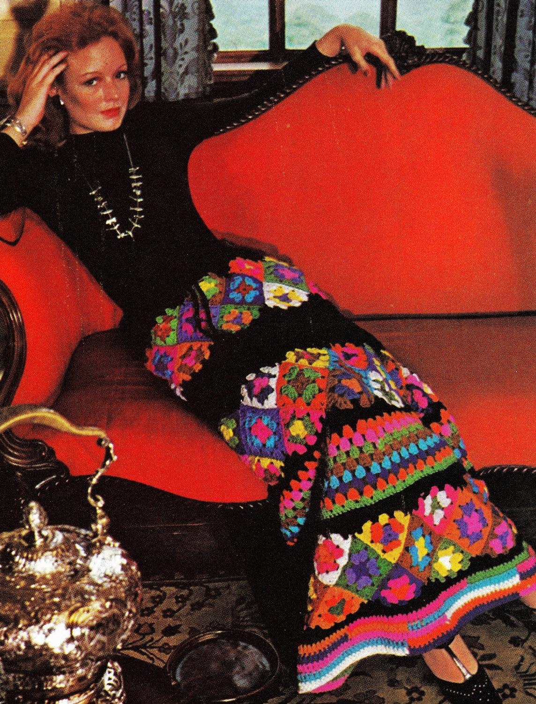 Прямая вязаная юбка крючком из квадратов, схема вязания 28