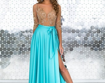 "Evening Dress, Prom Dress ""INGRIT AZURE"" with laces"