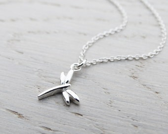 Tiny Silver Dragonfly Necklace - Sterling Silver