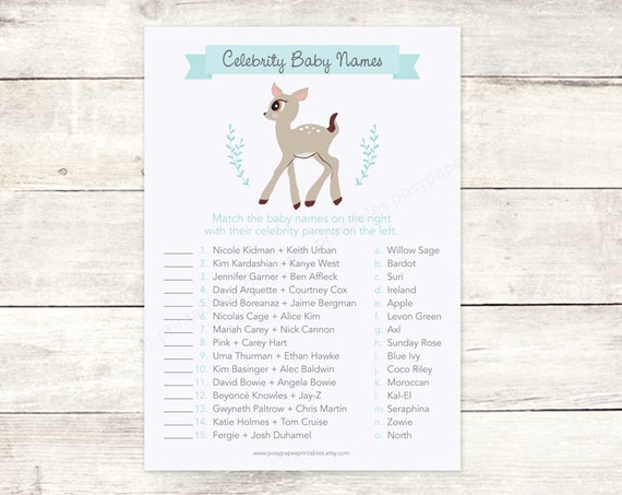 celebrity baby names matching game card printable baby girl