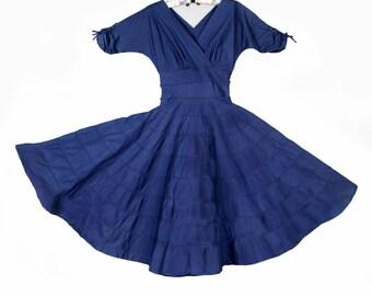 "1950's Vintage Party Dress, Mid Century, Blue Cotton, Full Circle Skirt, Surplus Neckline , 32 / 34"" Bust, 26"" waist, Small/Medium"