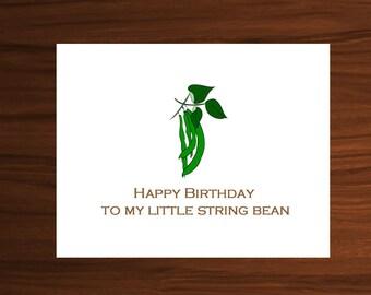 string bean, string beans, string bean print, string bean prints, son birthday gift, happy birthday son, birthday card for him, boy birthday