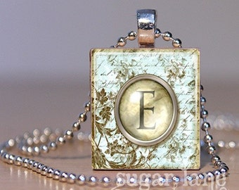 Initial Necklace Monogram Necklace - Vintage Typewriter Key - Scrabble Tile Pendant with Chain