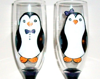 Penguins Hand Painted Wedding Flutes Cute Penguins Toasting Flutes 2 - 6 oz. Champagne Flutes Wedding Gift Wedding Glasses Personalized