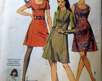 Vintage Sewing Pattern Simplicity 8884 Misses' Mini Dress Size 10 Bust 32.5 Uncut Complete