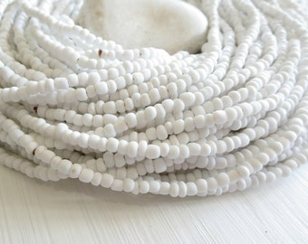 white  seed beads, white glass beads, freeform organic shape, rustic rondelle barrel tube spacer Indonesian, 1.5 to 4mm / 44 inches - 7ab2-1