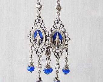 Mary Earrings, Sacred Heart Earrings, Miraculous earrings, Catholic earrings, Catholic jewelry, boho earrings, long gypsy earrings, blue