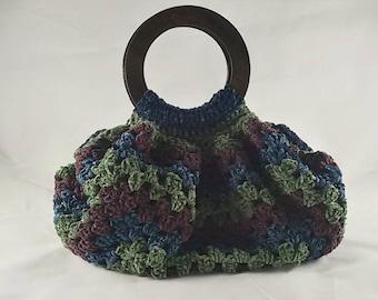 Crochet handbag vintage style, in chenille sage green , purple and blue