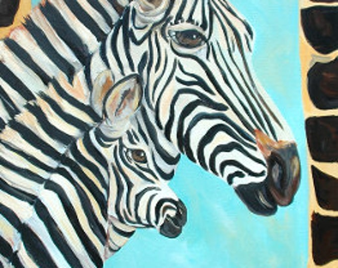 Zebra and Baby Painting | Zebra Acrylic Painting