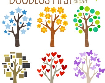 Shape Trees Digital Clip Art for Scrapbooking Card Making Cupcake Toppers Paper Crafts