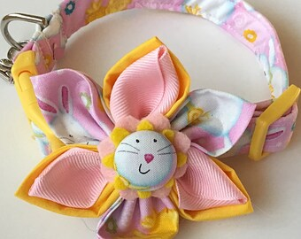 Easter Bunny and Chicks Flower Collar for Girl Dogs and Cats with Bunny Charm