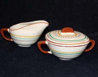 """Retro Walter Dorwin Teague designed """"Conversation"""" Striped Ceramic Cream and Sugar"""