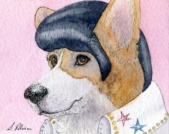 Art de 10 x 8 pouces pour le chien Pembroke Welsh Corgi impression par perruque costume de Susan Alison Elvis Presley imitateur vous êtes solitaire ce soir aquarelle