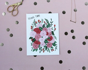 Thank You - Greeting card - Note - Bunch of Roses - Friendship