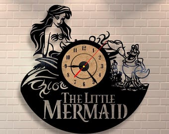 Little Mermaid Ariel vinyl wall record clock.