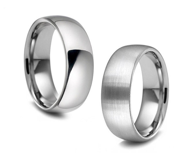 2mm 3mm 4mm 5mm 6mm Width Stainless Steel Wedding Band Comfort Fit Dome Top Polished or Satin Brushed Finish