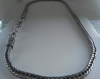 "232 grams vintage sterling silver Bali wheat foxtail chain belt or neck chain 33 1/2"".  Bali silver chain.  Bali silver foxtail chain belt."