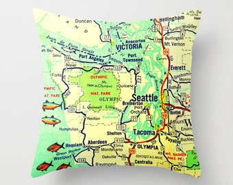 Seattle Pillow Cover, Hipster Pillow, Seattle Gifts, Washington Pillow, Hipster Gifts, Vintage Seattle Map WA Throw Pillow Tacoma Olympia