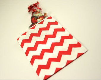 "Red Gift Bag - Small Favor Bag - Red Chevron Gift Bag, 2.75"" x 4"", Set of 20"