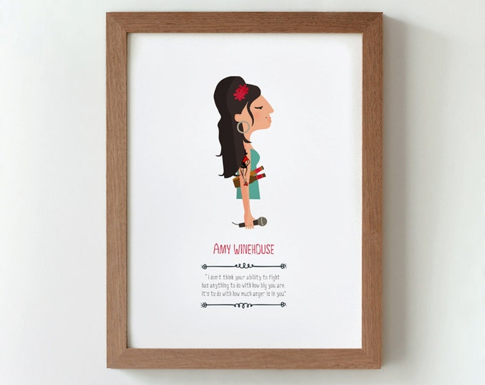 "Ilustración ""Amy Winehouse""."