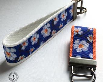 blue white flower key fob, new driver, keychain, wristlet, key chain, flower key chain