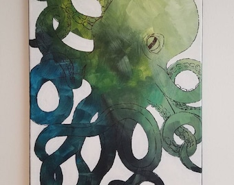 Jade Ombre Octopus 11x14 Painting