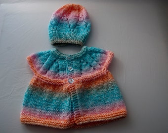 Handknitted Girls Sleeveless Cardigan And Hat for 0-3 Month Old.