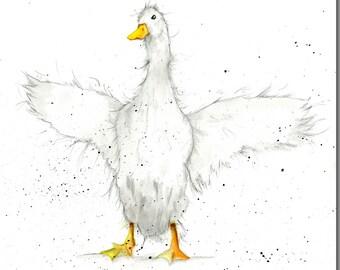 Duck Greeting Card - In A Flap - Watercolour, Barnyard Bird Card, Blank Inside