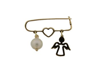 18K Yellow Gold Heart pearl and open angel Safety PIn