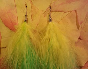 All light yellow and green feather earrings