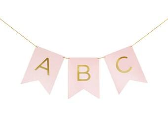 Gold Foil Stamped Blush Pink Alphabet Custom Letter Banner