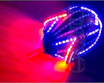 Custom Sound Reactive LED Helmet STG8 FX Light Up Mask Robot Rider DJ Helmet for Cyborg Party Costume Cosplay Cyber Futuristic Headwear Bot