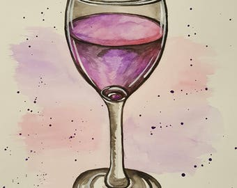 Watercolor Painting: Wine Me Up
