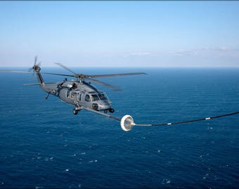 Poster, Many Sizes Available; Hh-60 Pave Hawk Helicopter Refuels, 33Rd Rescue Squadron
