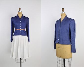 90s Does 40s Linen Ralph Lauren Jacket / Cropped jacket / Denim Jacket / 40s Jacket / Chambray Jacket /Size M/L